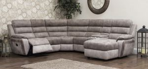 Uber Recliner Corner 2C2 Brown And Grey With Drinks Console (Modular Available)