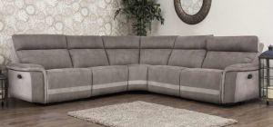 Vanzo Large Recliner Fabric Corner Sofa Brown