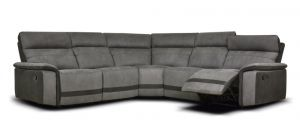 Vanzo Large Recliner Fabric Corner Sofa Charcoal Grey