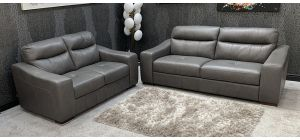 Venezia Semi Aniline Leather Sofa Set 3 + 2 Seater Grey Sisi-Italia, Scars On Top Of Both Right Arms (See Images) Ex-Display Showroom Model 46787