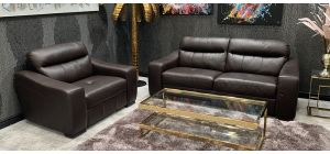 Venezia Leather Sofa Set 3 + 1 Seater Brown Ex-Display Showroom Model 46602