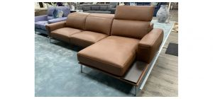 Villeneuve Semi Aniline Leather Corner Sofa RHF Brown New Trend With Sliding Out Seating And Adjustable Headrests