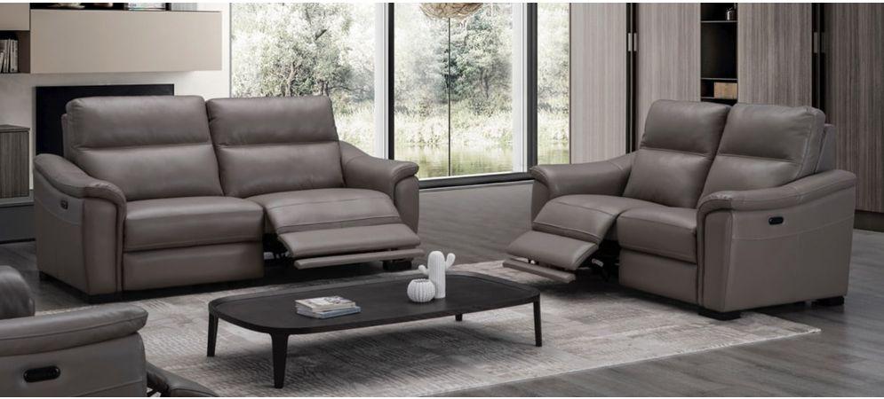 Livorno Grey 3 2 Full Leather Sofa, Electric Leather Sofa
