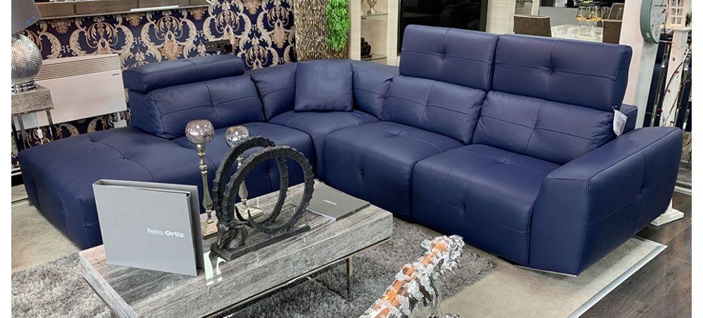 Zaira Semi Aniline Leather Corner Sofa, Blue Leather Furniture