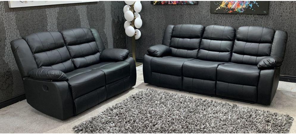 Roman Black Recliners Leather Sofa Set, Sofa Set Photos