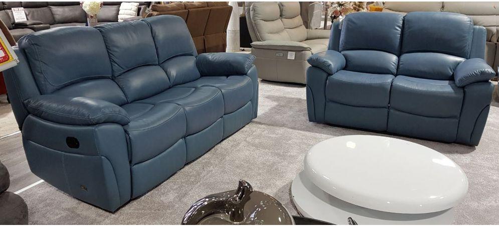 Serena Blue Reclining 3 2 Seater Leather Sofa Set Leather Sofa World