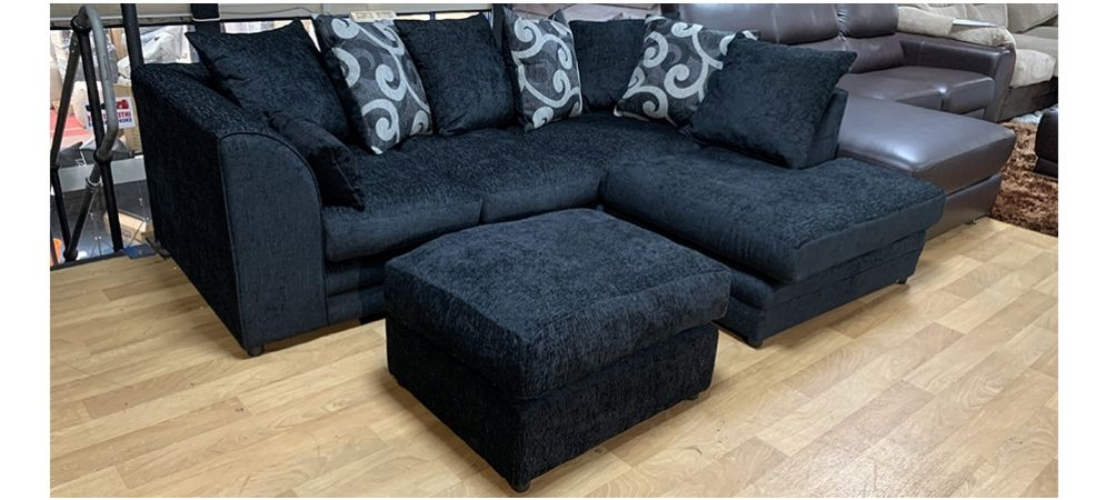Zina Fabric RHF Black Scatter Back Corner Sofa With Footstool | Leather Sofa World