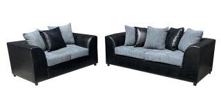 Dylan 3 + 2 Seater Black And Grey Portobello Cord