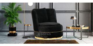 Fendi Black Soft Velvet Swivel Chair With Chrome-Gold Seams And Base Detailing