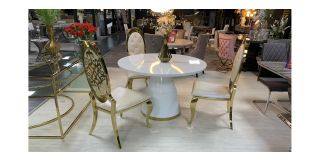 Atlanta White Gloss And Gold Round 1.2m Dining Table With 3 Gold And Pu Chairs(chairs h115cm d55cm w55cm) Ex-Display Showroom Model