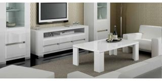 Elegance White Coffee Table With Glass Top