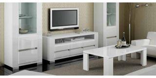 Elegance White Three Door TV Unit Assembled