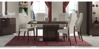 Prestige Warm Umber Birch 1.8m (Extending to 225cm) Dining Table With Six Cream Chairs