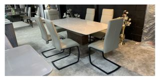 Breville Grey 1.8m Marble Effect Dining Table With 6 Mushroom Chairs(chairs h102cm d50cm w40cm) Ex-Display Showroom Model