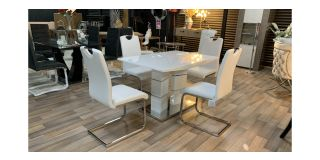 Vega White And Chrome 1.2m High Gloss Dining Table With 4 White Pu Chairs(chairs h100cm d50cm w45cm) Ex-Display Showroom Model