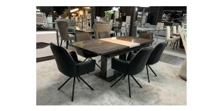 Extending Grey And White 2m Dining Table With 6 Grey Fabric Chairs(chairs h75cm d60cm w60cm) Ex-Display Showroom Model