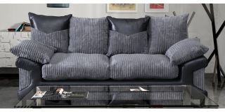 Dino Fabric 3 Seater Monty Metropolis Black and Grey Delivery up to 21-28 days