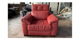 Marinelli Red Static Leather Armchair With Adjustable Headrest And Wooden Legs - Few Scuffs (see images) Ex-Display Showroom Model 47052