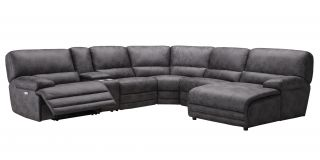 Francesca Charcoal Grey Large 2C2 Fabric Corner Sofa With One Power Recliner Seat - Chaise And Drinks Holders