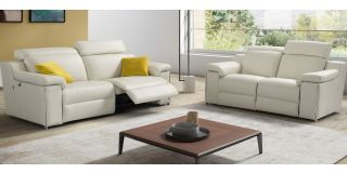 Avana White Leather 3 + 2 Sofa Set Electric Recliner With Chrome Legs Newtrend Available In A Range Of Leathers And Colours 10 Yr Frame 10 Yr Pocket Sprung 5 Yr Foam Warranty