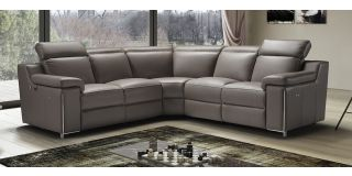Avana Brown 2C2 Leather Electric Corner Sofa With Adjustable Headrests And Chrome Legs Newtrend Available In A Range Of Leathers And Colours 10 Yr Frame 10 Yr Pocket Sprung 5 Yr Foam Warranty
