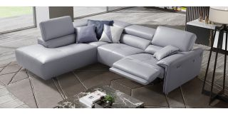 Brooklyn Lilac LHF Semi-Aniline Leather Electric Corner With Adjustable Headrests And Chrome Legs Newtrend Available In A Range Of Leathers And Colours 10 Yr Frame 10 Yr Pocket Sprung 5 Yr Foam Warranty