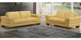 Megane Yellow Leather 3 + 2 Sofa Set With Wooden Legs Newtrend Available In A Range Of Leathers And Colours 10 Yr Frame 10 Yr Pocket Sprung 5 Yr Foam Warranty