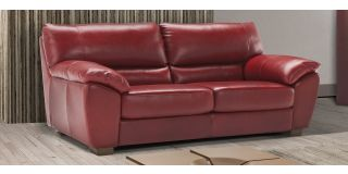 Peter Red Large Semi-Aniline Leather Sofa Bed With Wooden Legs Newtrend Available In A Range Of Leathers And Colours 10 Yr Frame 10 Yr Pocket Sprung 5 Yr Foam Warranty