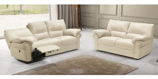 Tequila Cream Semi-Aniline Leather 3 + 2 Electric Recliners Newtrend Available In A Range Of Leathers And Colours 10 Yr Frame 10 Yr Pocket Sprung 5 Yr Foam Warranty
