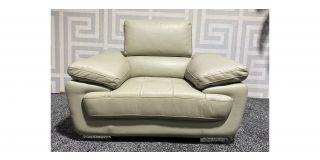 Valencia Cream Leather Armchair Adjustable Headrests With Chrome Legs - Few Scuffs (see images) Ex-Display Showroom Model 47394