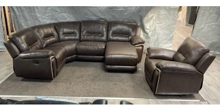 Henry Brown RHF Leathaire Manual Recliner Corner Sofa With Chaise And Electric Armchair Ex-Display Showroom Model 47423