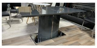 Grey 1.6m Dining Table Extendable To 2.1m With Chrome Base - Marks On Extension Piece And Fine Scratches And Chips(See Images) - Ex-Display Showroom Model 47451