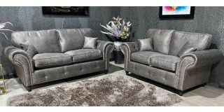 Midas 3+2 Buffalo Grey Buffalo Faux Leather With Subtle Button Detailing And Chrome Legs