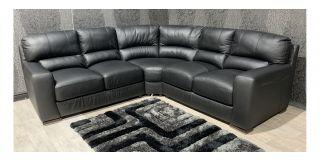 Lucca Black 2C2 Leather Corner Sofa Sisi Italia Semi-Aniline With Wooden Legs Ex-Display Showroom Model 47571