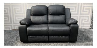 Montreal Black Corrected Grain Leather Regular Sofa Manual Recliner - 8cm Cut On Right Hand Arm (see images) Ex-Display Showroom Model 47582