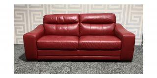 Venezia Red Large Leather Sofa Sisi Italia Semi-Aniline With Wooden Legs Ex-Display Showroom Model 47694