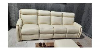 Newtrend Cream Leather 4 Seater Electric Recliner Ex-Display Showroom Model 47703