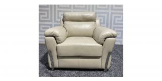 Cream Bonded Leather Armchair With Chrome Legs - Minor Scuff On Back (see images) Ex-Display Showroom Model 47704