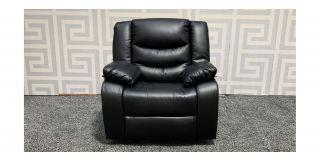 Roma Black Bonded Leather Armchair Manual Recliner Ex-Display Showroom Model 47717