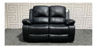 Valencia Black Bonded Leather Regular Sofa Manual Recliner Ex-Display Showroom Model 47730