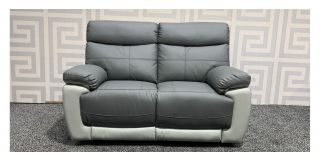 Two Tone Grey Bonded Leather Regular Sofa Manual Recliner - Few Scuffs Back Left (see images) Ex-Display Showroom Model 47740
