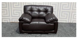 Alexis Brown Bonded Leather Armchair With Chrome Legs Ex-Display Showroom Model 47760