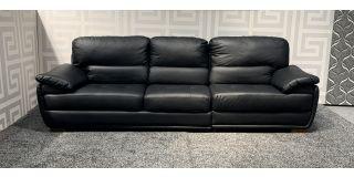 Sandringham 4 Seater Black Bonded Large Leather Sofa With Wooden Legs Ex-Display Showroom Model 47769