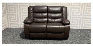 Roma Brown Bonded Leather Regular Sofa Manual Recliner Ex-Display Showroom Model 47771