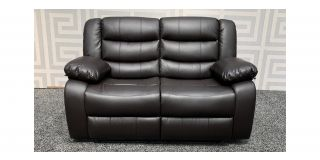Roma Brown Bonded Leather Regular Sofa Manual Recliner - Few Scuffs (see images) Ex-Display Showroom Model 47820