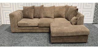 Dylan Beige RHF Jumbo Cord Fabric Corner Sofa With Scatter Back Ex-Display Showroom Model 47828