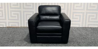 Capri Black Leather Armchair Sisi Italia Semi-Aniline Ex-Display Showroom Model 47852