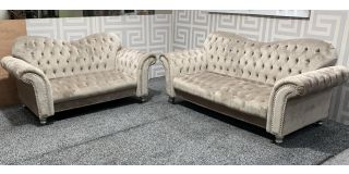 Elegance Beige Fabric 3 + 2 Sofa Set With Round Studded Arms And Wooden Legs Ex-Display Showroom Model 47872