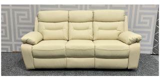 Admiral Cream Large Leather Sofa Manual Recliner Ex-Display Showroom Model 47890
