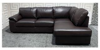 Brown Bonded RHF Leather Corner Sofa Ex-Display Showroom Model 47897